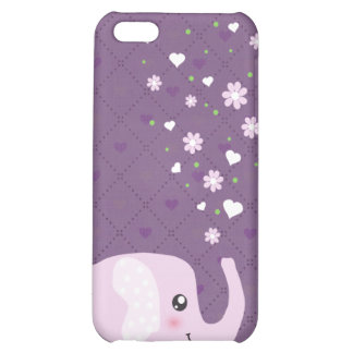 Cute elephant in girly pink & purple cover for iPhone 5C