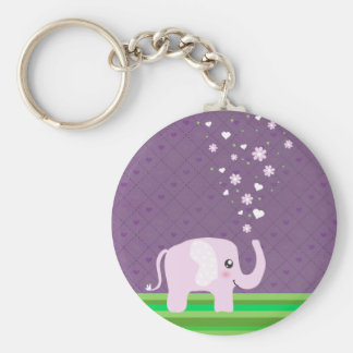 Cute elephant in girly pink & purple key ring