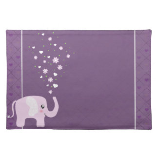 Cute elephant in girly pink & purple placemat