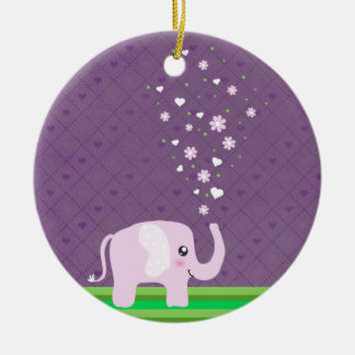 Cute elephant in girly pink & purple round ceramic decoration