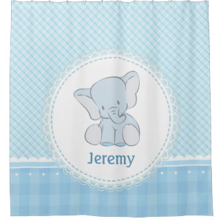 Cute Elephant Light Blue Plaid for Kids Children Shower Curtain