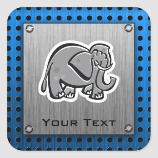 Cute Elephant; Metal-look Square Sticker