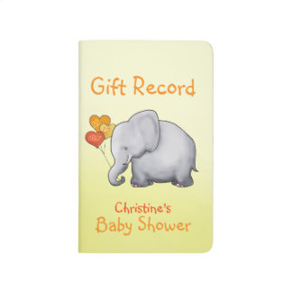 Cute Elephant Neutral Baby Shower Gift Record Journal