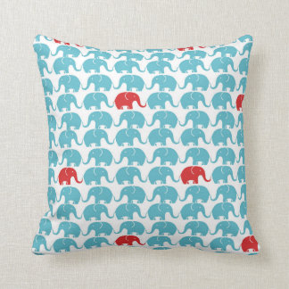 Cute elephant pattern with red accent throw pillow