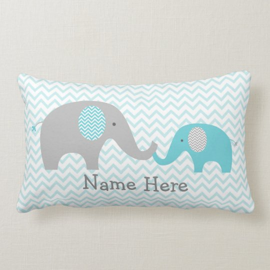 Cute Elephant Personalised Pillow Teal & Grey