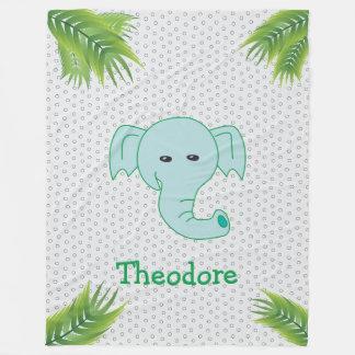 Cute Elephant Personalized Custom Name Monogram Fleece Blanket