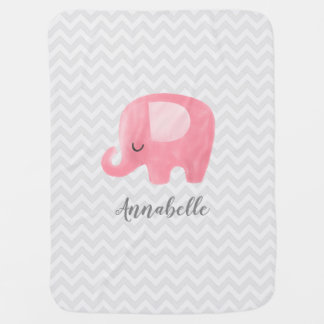 Cute Elephant Personalized Girl Baby Blanket