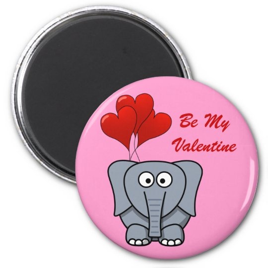 Cute Elephant Red Heart Balloons Be My Valentine 6 Cm Round Magnet
