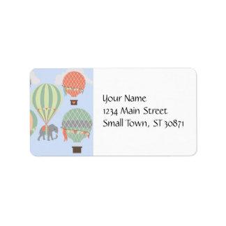 Cute Elephant Riding Hot Air Balloons Rising Address Label