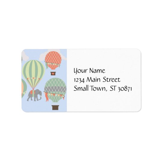 Cute Elephant Riding Hot Air Balloons Rising Address Label