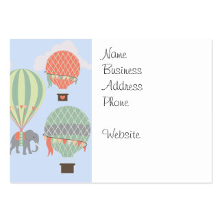 Cute Elephant Riding Hot Air Balloons Rising Pack Of Chubby Business Cards