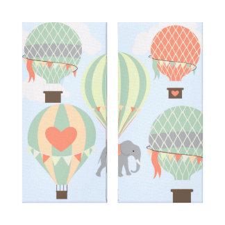 Cute Elephant Riding Hot Air Balloons Rising Canvas Prints