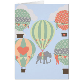 Cute Elephant Riding Hot Air Balloons Rising Card