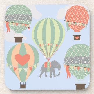 Cute Elephant Riding Hot Air Balloons Rising Drink Coaster