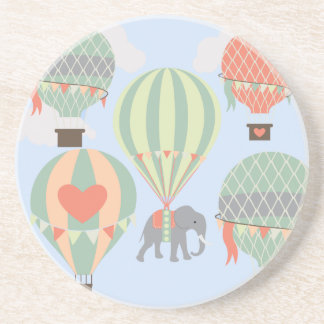 Cute Elephant Riding Hot Air Balloons Rising Drink Coasters