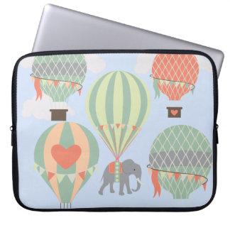 Cute Elephant Riding Hot Air Balloons Rising Laptop Sleeve