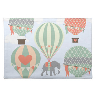 Cute Elephant Riding Hot Air Balloons Rising Placemat