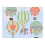 Cute Elephant Riding Hot Air Balloons Rising Postcard