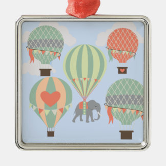 Cute Elephant Riding Hot Air Balloons Rising Silver-Colored Square Decoration