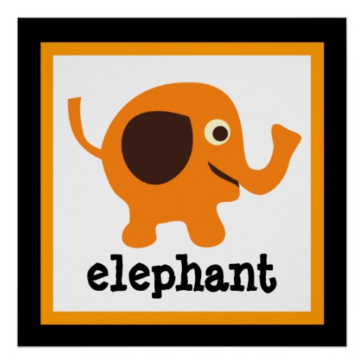 Cute Elephant Safari Animals Baby Kids Poster