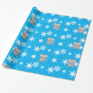 Cute elephant sky blue snowflakes wrapping paper