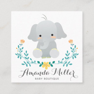Cute Elephant Squared For Baby Business Square Card