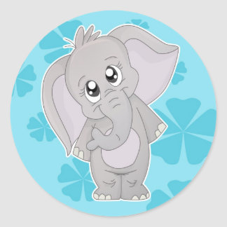 Cute Elephant Sticker- Large Classic Round Sticker