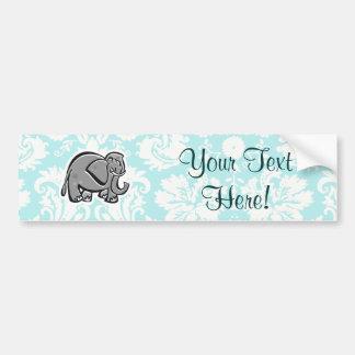 Cute Elephant; teal Bumper Sticker