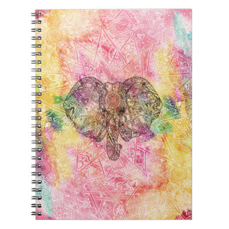 Cute Elephant Watecolor hand drawn Henna floral Notebook