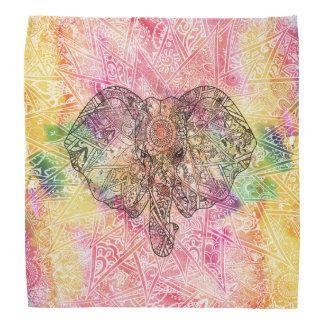 Cute Elephant Watercolor hand drawn Henna floral Bandana