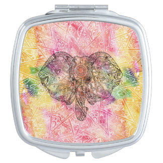 Cute Elephant Watercolor hand drawn Henna floral Mirror For Makeup