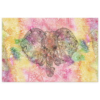 Cute Elephant Watercolor hand drawn Henna floral Tissue Paper