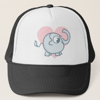 Cute Elephant With A Pink Heart Illustration Trucker Hat