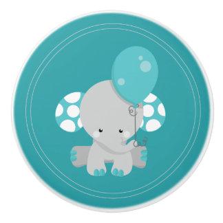 Cute Elephant with Balloon Nursery Ceramic Knob
