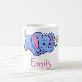 Cute Elephant with Flower Jungle Animal Kids Basic White Mug