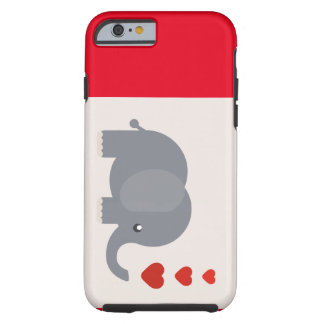 Cute elephant with hearts whimsical love tough iPhone 6 case