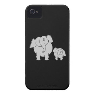 Cute Elephants. Cartoon on Black. iPhone 4 Case
