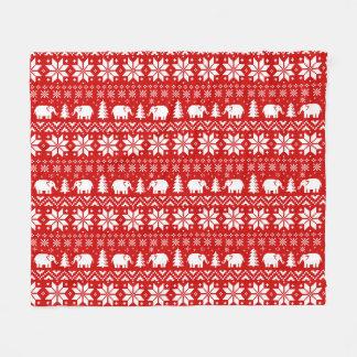 Cute Elephants Christmas Pattern Red Fleece Blanket