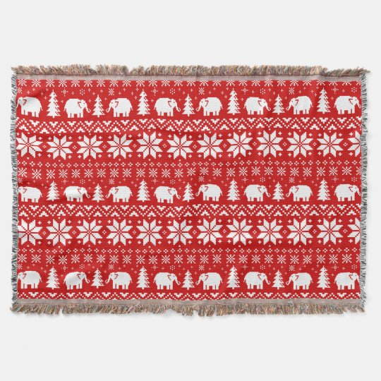 Cute Elephants Christmas Pattern Red Throw Blanket