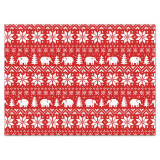 Cute Elephants Christmas Pattern Red Tissue Paper