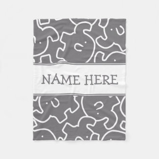 Cute Elephants Custom Name Kids Zoo Animals Fleece Blanket