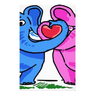 Cute Elephants holding a Heart Customized Stationery