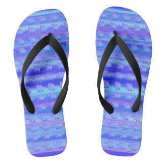 Cute Elephants on Blue and Turquoise Stripes Flip Flops
