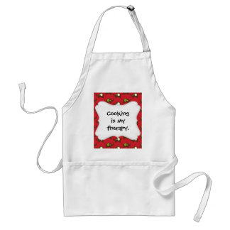 Cute Elephants Pattern Brown Green Cream on Red Adult Apron
