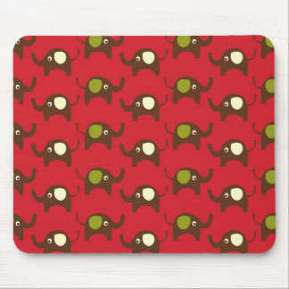 Cute Elephants Pattern Brown Green Cream on Red Mouse Pads