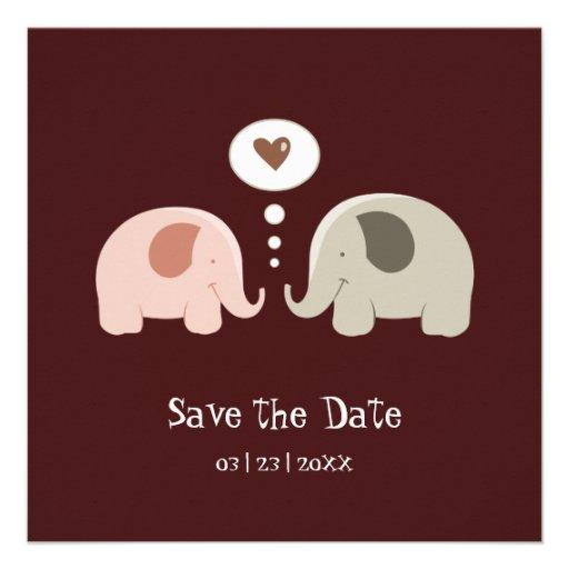 Cute Elephants - Save the Date invitation