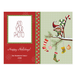 Cute Elf and Christmas Socks Postcard