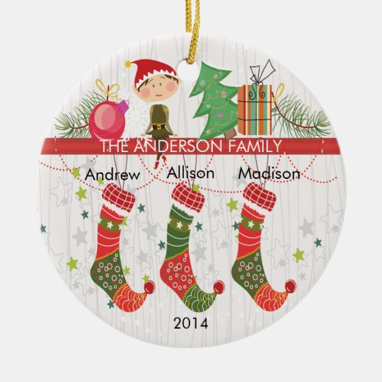 Cute Elf Stockings Family of 3 Christmas Ornament