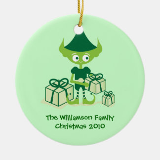Cute Elf with Presents Christmas Ornament