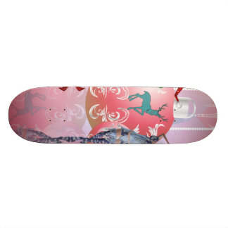 Cute elfe dancing and playing for christmas skate boards